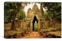 West Gate to Angkor Thom in Cambodia, Canvas Print