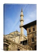 Blue Mosque Minaret in Istanbul, Canvas Print