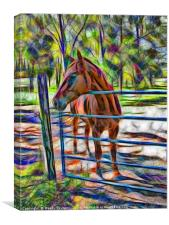 Abstract horse standing at gate, Canvas Print