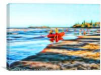 Surf Life Saving on beautiful beach, Canvas Print
