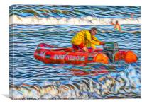 Abstract Surf Rescue boat in action, Canvas Print