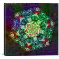 Stained glass fractal kaleidoscope, Canvas Print