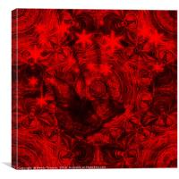 Butterfly and fractal in black and blood red, Canvas Print