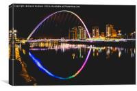 Gateshead Millennium Bridge - At night, Canvas Print