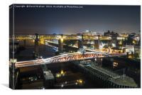 Swing Bridge & High level Bridge at night, Canvas Print