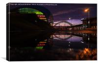 Sage Gateshead & Tyne Bridge reflected in puddle, Canvas Print