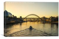 Tyne Bridge at sunset - Boat on water, Canvas Print