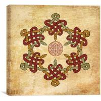 Gold Burgundy Celtic Circle, Canvas Print