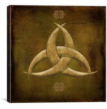 Earthen Celtic Triquetra Symbol, Canvas Print