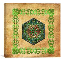 Celtic Stained Glass Diamond, Canvas Print