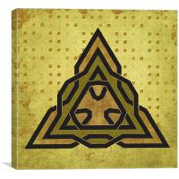 Triangle Celtic Symbol Gold Pattern, Canvas Print