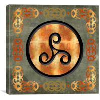 Triple Spiral Metalwork Framed , Canvas Print