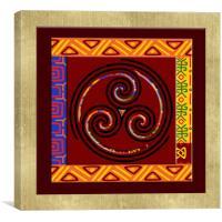 Tribal Celt Triple Spiral, Canvas Print