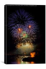 Fowey Regatta Fireworks, Canvas Print