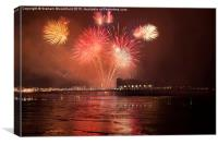 Fireworks over Weston Super Mare, Canvas Print