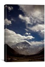 Mount Everest with cloud from the Tibetan side, Ti, Canvas Print