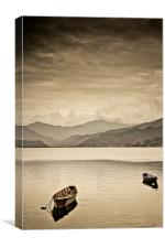 Lone boats on Fewa Lake, Pokhara, Nepal, Canvas Print