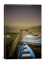 Boats on Phewa Lake, Pokhara, Nepal, Canvas Print