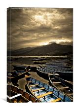 Boats of Phewa Lake, Pokhara, Nepal, Canvas Print