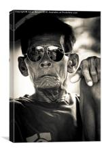 Man in sunglasses in Yogyakarta, Indonesia, Canvas Print