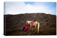 Horseman of Bromo volcano, Java, Indonesia, Canvas Print