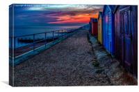 Sunset beach huts, Canvas Print