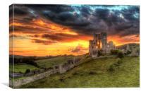 Sunset over Corfe Castle, Canvas Print