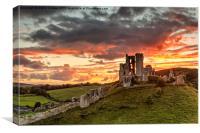 Sunset over Corfe Castle in Dorset, Canvas Print