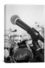 Microphone and Drums B&W, Canvas Print