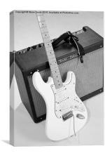 Guitar & Amp B&W, Canvas Print