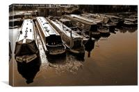 Canal Barges at Rest , Canvas Print