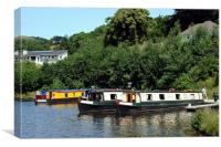 Narrow Boats On The Llangollen Canal, Canvas Print