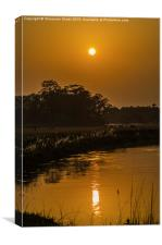 Sunset and its reflection, Canvas Print