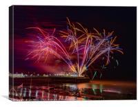 Worthing Pier Fireworks , Canvas Print