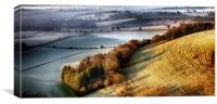 Dawn breaking over wrinkled hill, Canvas Print