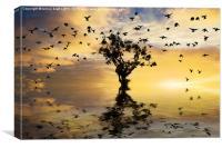 Single tree sunrise and birds, Canvas Print