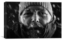 Man freezing in snow storm close up, Canvas Print