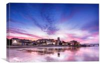 Pink sunset reflections over Cromer town at dusk, Canvas Print