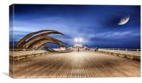 Monster octopus attacking seaside pier, Canvas Print