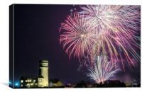 Hunstanton fireworks night 2017 in Norfolk UK, Canvas Print