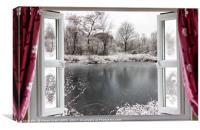 Beautiful frozen lake scene through an open window, Canvas Print