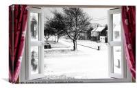 Beautiful winter scene through an open window, Canvas Print