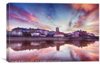 Skies ablaze in Cromer town, Canvas Print