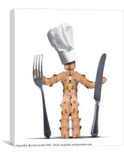 Chef box man character with cutlery, Canvas Print