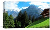 Wetterhorn and Schreckhorn, Switzerland, Canvas Print