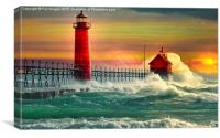lighthouse waves at sea, Canvas Print