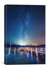 Pier under the stars, Canvas Print