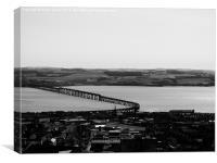 tay rail bridge Dundee to Fife in b&w, Canvas Print
