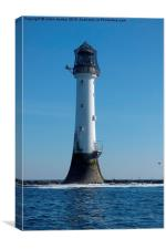 Bellrock lighthouse Arbroath in colour , Canvas Print