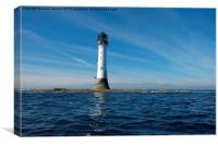 Bellrock lighthouse Arbroath low tide in colour , Canvas Print